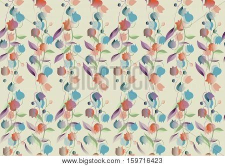 Gentle seamless floral pattern. Beautiful background with bellflowers.