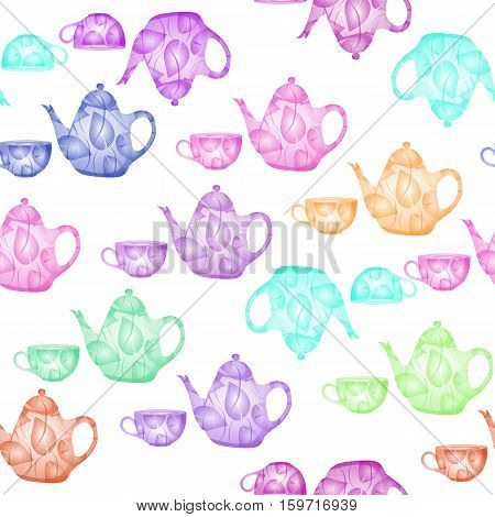 Tea time collection. Seamless pattern with colorful teapots and cups.