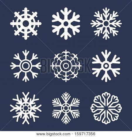 Vector illustration white snowflake icon set .