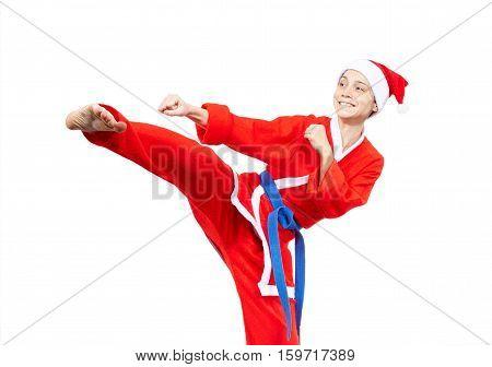 The adult karateka is beating kick leg