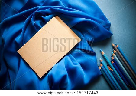 poetry & creativity concept background on blue background