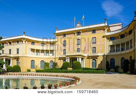 Lateral view on Pedralbes palace in Barcelona, summer Spain