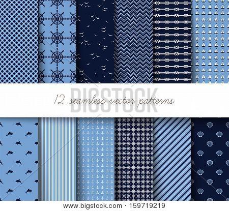 Marine decorative seamless pattern. Vector illustration .