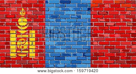 Flag of Mongolia on a brick wall - Illustration,  Flag of Mongolia in brick style
