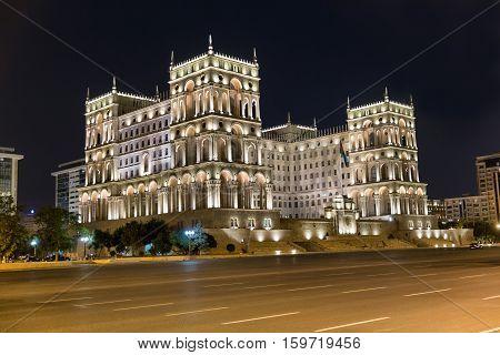 The Government house on Freedom square at night. Baku. Azerbaijan
