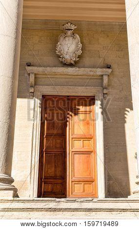 Catholic Basilica San Marino. Door,  Italy. Europe