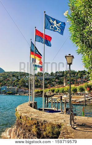 Flags at the luxurious resort in Ascona on Lake Maggiore in Ticino canton Switzerland.