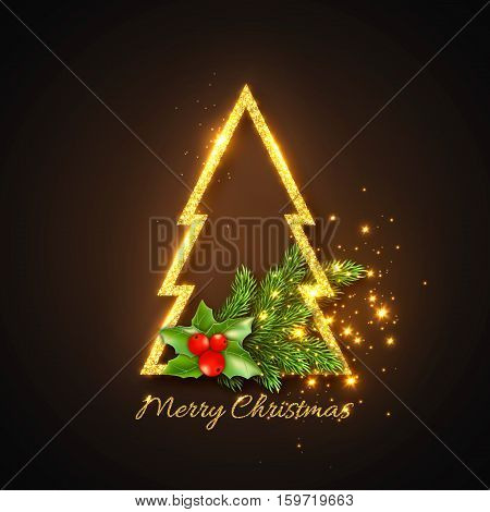Christmas design abstract gold fur-tree with glowing lights and golden text new year fir branches decoration with holly. Black color background. Vector illustration.