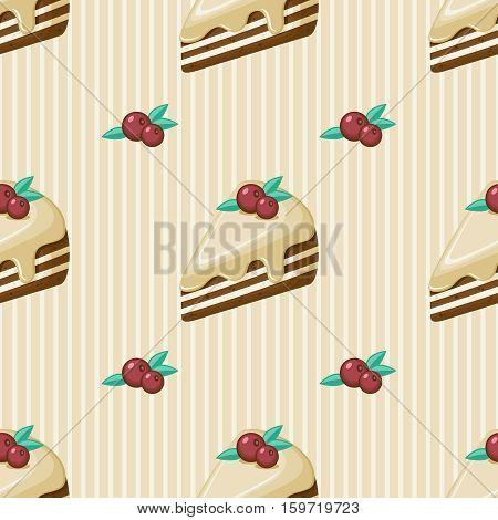 Twelve seamless cake vector illustration pattern .