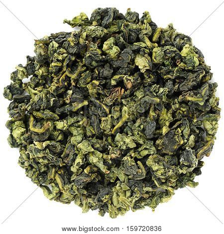 Ooloong tea Te Guanin in round shape isolated overhead view