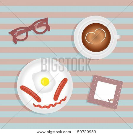 Breakfast: fried egg with two sausage. Cup with coffee on saucer. Burgundy glasses. Napkin with cute pink trim with white polka dots and hearts. Striped background. Vector illustration.