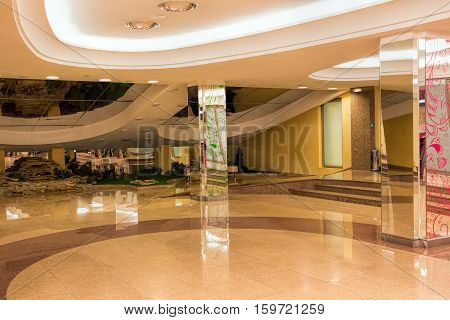 Ekaterinburg Russia - February 26 2016: Interior lobby of the culture center Ural