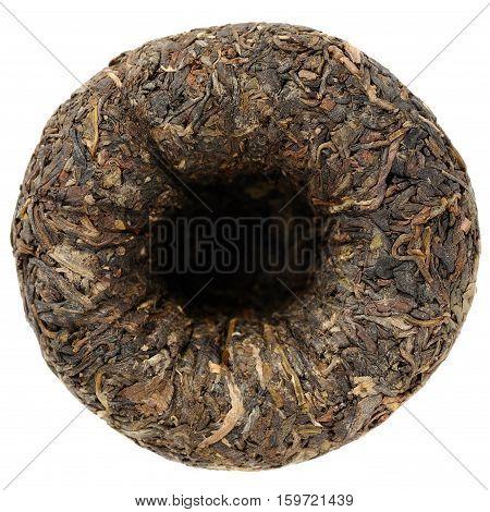 Raw puerh tea tuocha shape ovehead view isolated