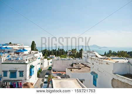 Sidi Bou Said roofs view Tunis africa