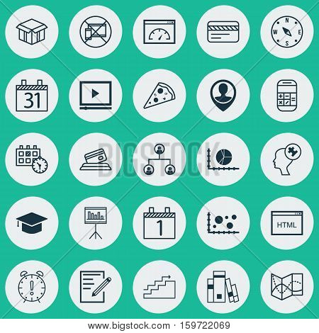 Set Of 25 Universal Editable Icons. Can Be Used For Web, Mobile And App Design. Includes Elements Such As Agenda, Library, Open Cardboard And More.