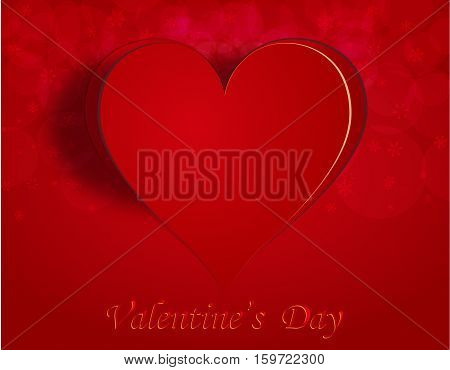 Enamored heart on a celebratory background. Greeting inscription Happy Valentine. Vector illustration