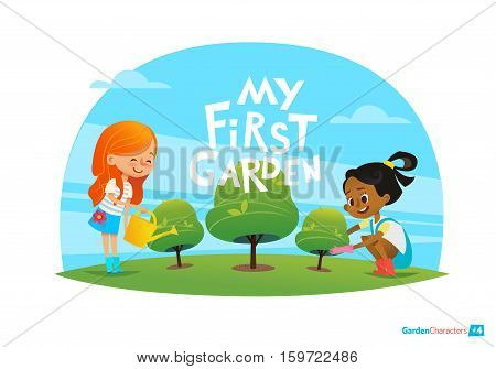 My first garden concept. Cute kids care for plants in the garden. Early education, outdoor activities. Minressiri gardening.