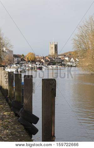 A view of Henley-on Thames Oxfordshire England UK taken from the riverside on an Autumn Day