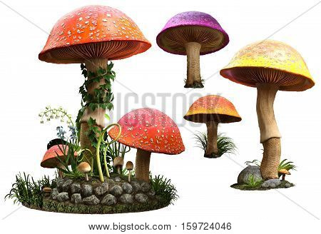 colourful fantasy mushrooms with plants 3D illustration