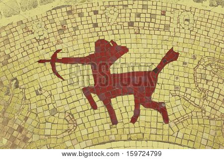 Sagittarius zodiac sign in a mosaic style