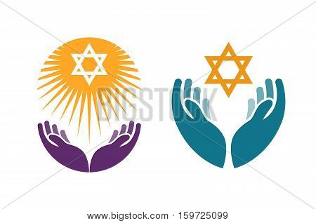 Hands holding Star of David. Icon or symbol vector isolated on white background