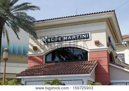 Fort Lauderdale FL USA - April 30 2016: Blue Martini lounge bar sign on the exterior of the Galleria Mall. There are over a dozen Blue Martini bars in the USA.