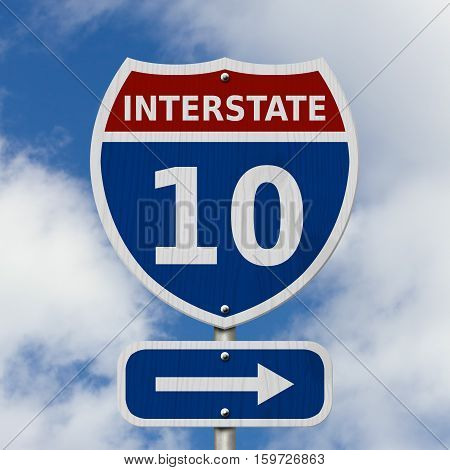 USA Interstate 10 highway sign Red white and blue interstate highway road sign with number 10 with sky background 3D Illustration