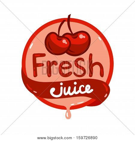 Colorful fresh cherry juice emblem, vector illustration for your design.
