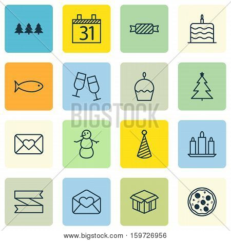 Set Of 16 Christmas Icons. Can Be Used For Web, Mobile, UI And Infographic Design. Includes Elements Such As Aquatic, Box, Birthday And More.