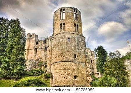 HDR Image of Beaufort castle ruins in Luxembourg