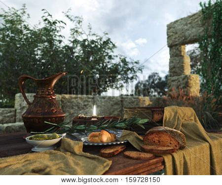 stilllife on nature background with ancient ruins, books,bread olive and pitcher