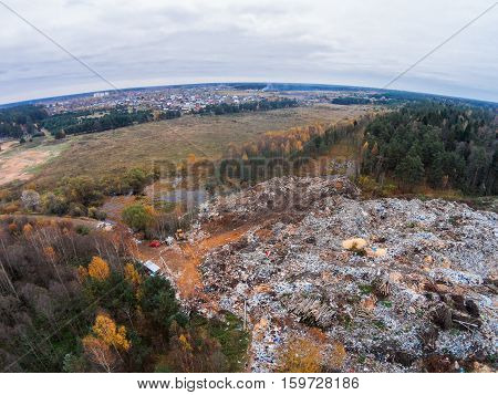 Aerial view of the solid waste landfill near the village.