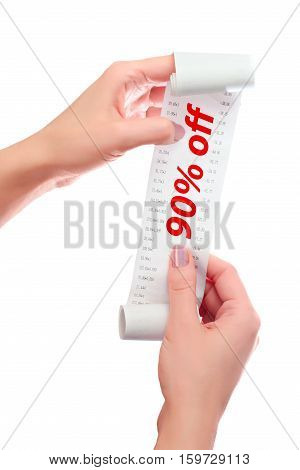 Woman Hold In Her Hands Roll Of Paper With Printed Receipt Mock Up Template. Text 90% Off In Red Ove