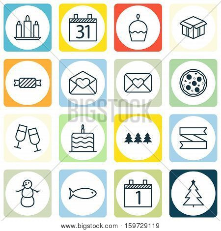 Set Of 16 Christmas Icons. Can Be Used For Web, Mobile, UI And Infographic Design. Includes Elements Such As Food, Candle, Agenda And More.