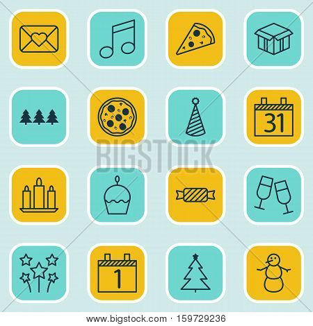 Set Of 16 Happy New Year Icons. Can Be Used For Web, Mobile, UI And Infographic Design. Includes Elements Such As Firework, Close, Sweet And More.