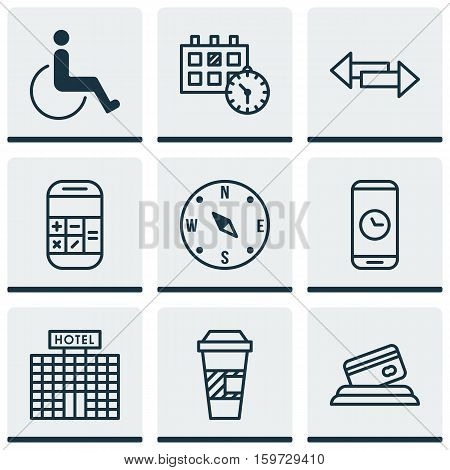 Set Of 9 Airport Icons. Can Be Used For Web, Mobile, UI And Infographic Design. Includes Elements Such As Crossroad, Paralyzed, Time And More.