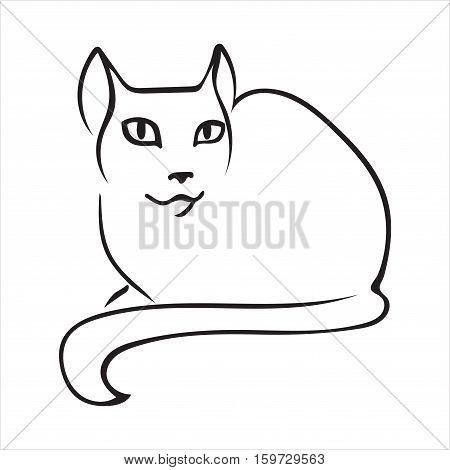 Cat outline friendly pussycat symbol for the logo black on white background vector isolated.
