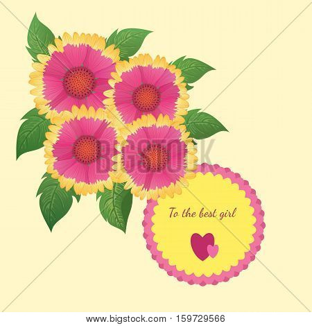 Vector illustration. Holliday card template with beautiful gaillardia flowers on a yellow background