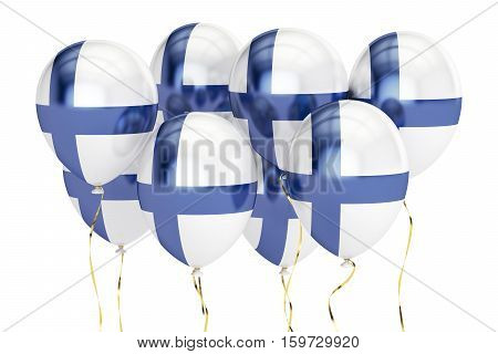 Balloons with flag of Finland holyday concept. 3D rendering isolated on white background
