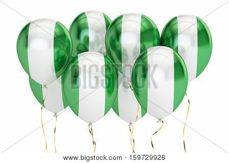 Balloons with flag of Nigeria holyday concept. 3D rendering isolated on white background