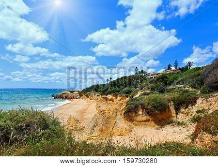 Atlantic Sunshiny Rocky Coast View (algarve, Portugal).