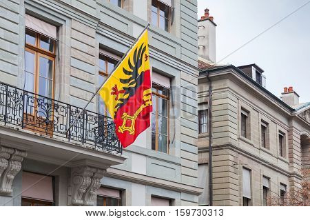 Geneva City, Switzerland.  Flag With Coat Of Arms