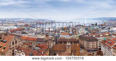 Geneva City, Switzerland. Panoramic Cityscape
