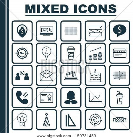 Set Of 25 Universal Editable Icons. Can Be Used For Web, Mobile And App Design. Includes Elements Such As Certificate, Business Woman, Achievement Graph And More.
