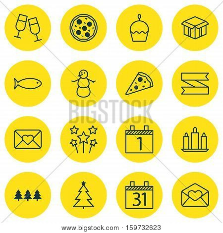 Set Of 16 Happy New Year Icons. Can Be Used For Web, Mobile, UI And Infographic Design. Includes Elements Such As Glasses, Festive, Close And More.