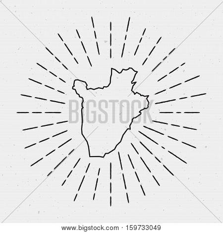 Vector Burundi Map Outline With Retro Sunburst Border. Hand Drawn Hipster Decoration Element. Black