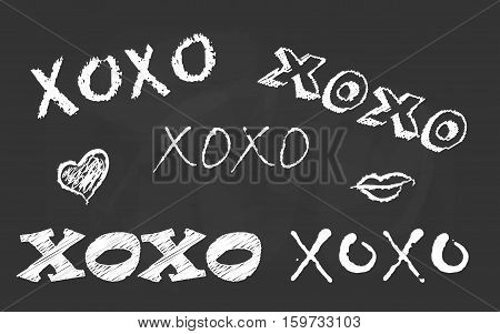 Hand drawn free typography lettering Xoxo. Love Hugs and Kisses Text Message. Vector Illustration Design Template for banner, flyer, postcard, poster, greeting and invitation card or t-shirt print.