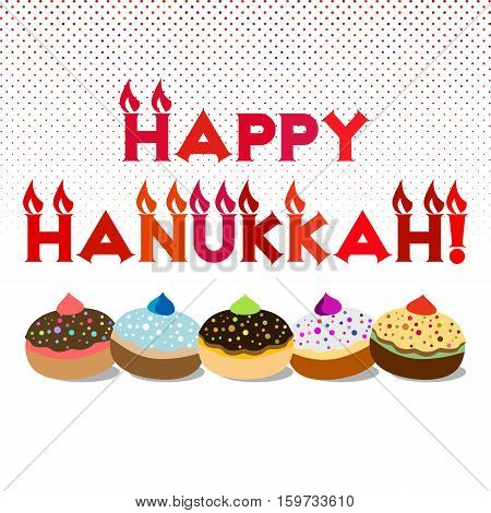 Postcard for greetings with Festival of Lights Feast of Dedication Hanukkah. Greeting as candles with flames and jewish sufganiots on halftone backgroung. Vector illustration