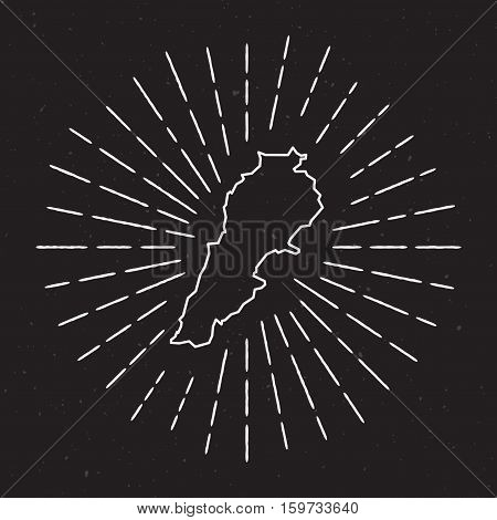 Lebanon Vector Map Outline With Vintage Sunburst Border. Hand Drawn Map With Hipster Decoration Elem