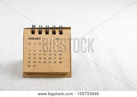 January. Calendar sheet. Two thousand and seventeen year calendar on bright background with copy space on right side.